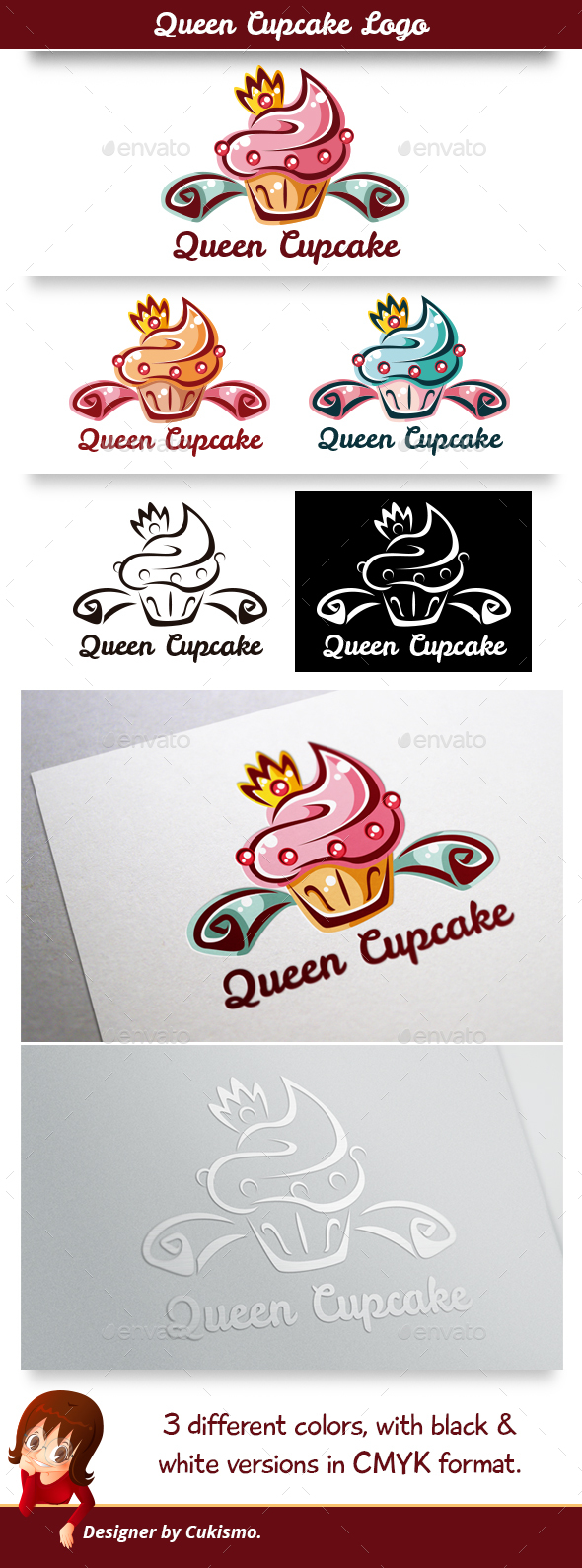 Queen Cupcake Logo - Food Logo Templates