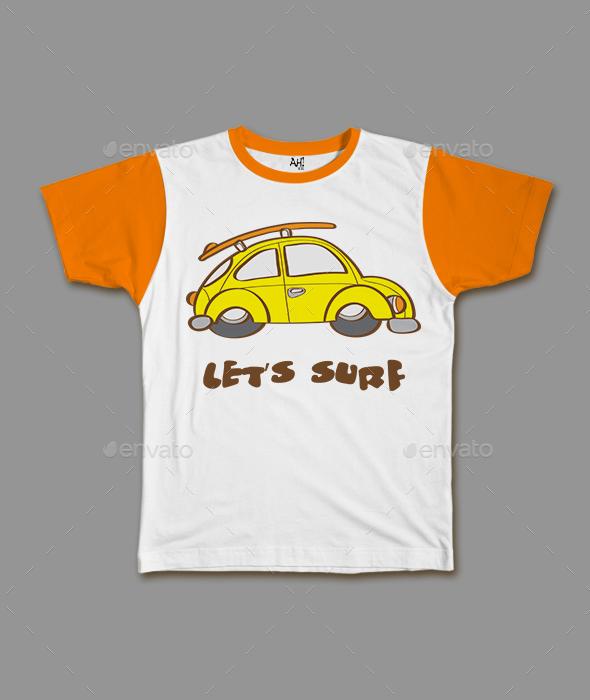 Surf Car Funny Kids T-shirt Design by megalobalz   GraphicRiver