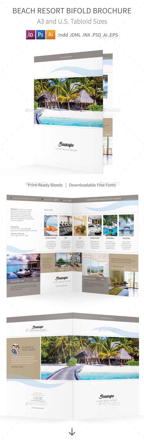Beach Resort Bifold / Halffold Brochure 2 - Informational Brochures