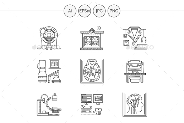 MRI diagnosis flat line vector icons - Man-made objects Objects