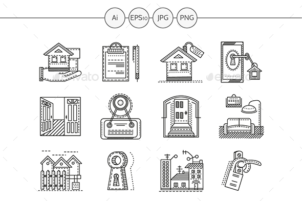 Set of black flat line vector icons for rental of property.  - Buildings Objects