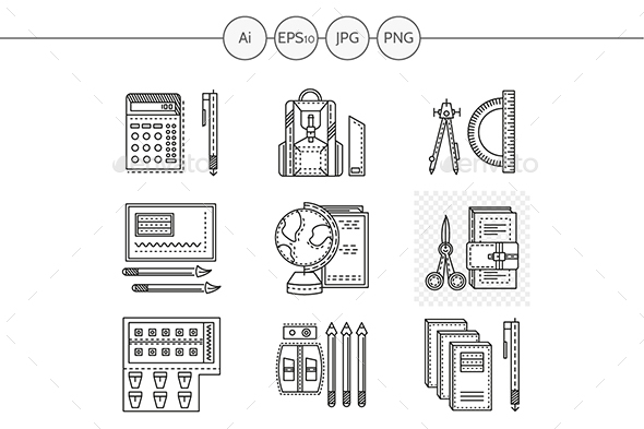 School supplies line vector icons - Objects Icons