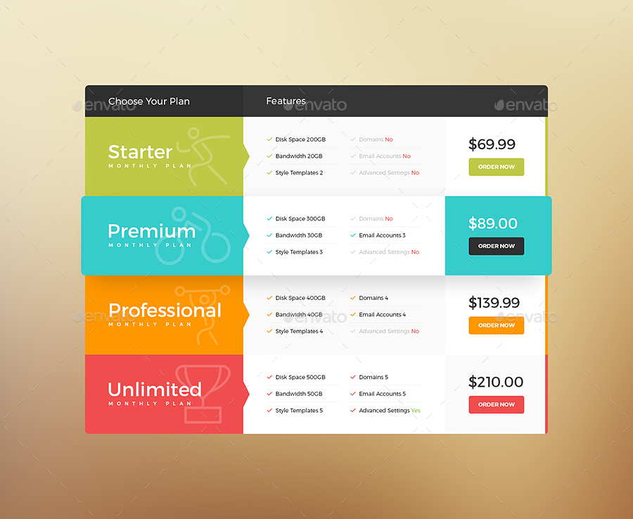 Horizontal vertical pricing tables by themefire for Table th horizontal
