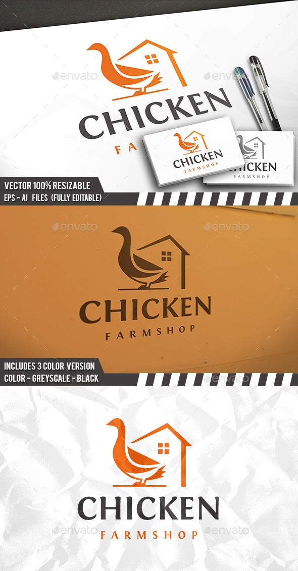 Chicken Farm Logo by BossTwinsArt | GraphicRiver Chicken Farm Logo Design