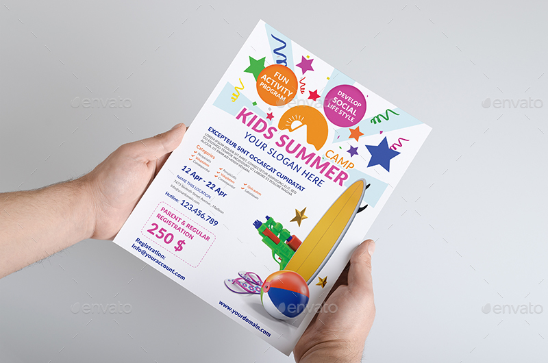Kids Summer Camp Flyer Template By Wutip  Graphicriver