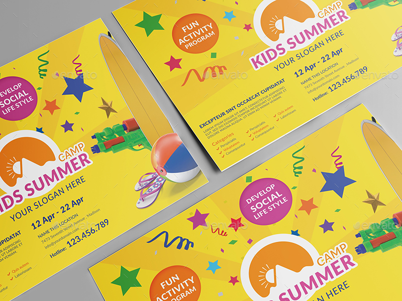 Kids Summer Camp Flyer Template By Wutip2 Graphicriver