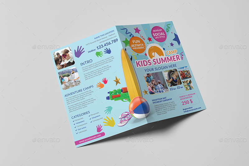 Kids summer camp a5 brochure template by wutip2 for A5 brochure template