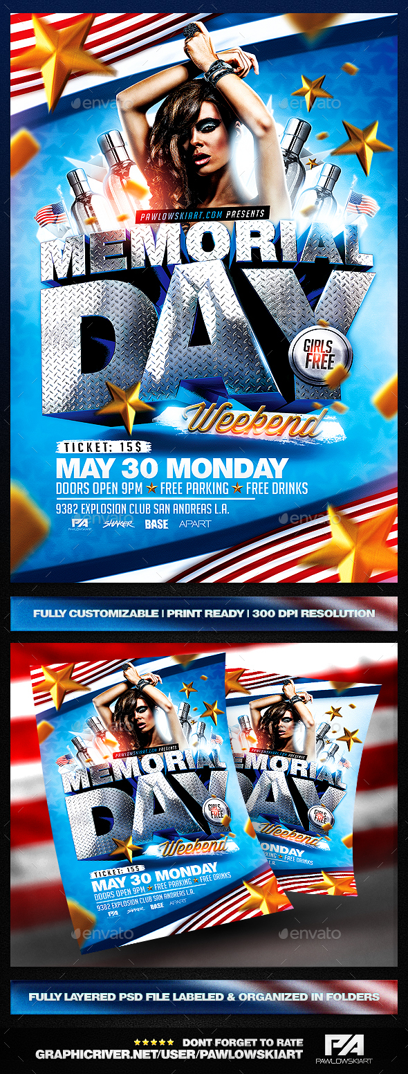 Memorial Day Weekend PSD Flyer Template by PawlowskiArt – Memorial Day Flyer Template