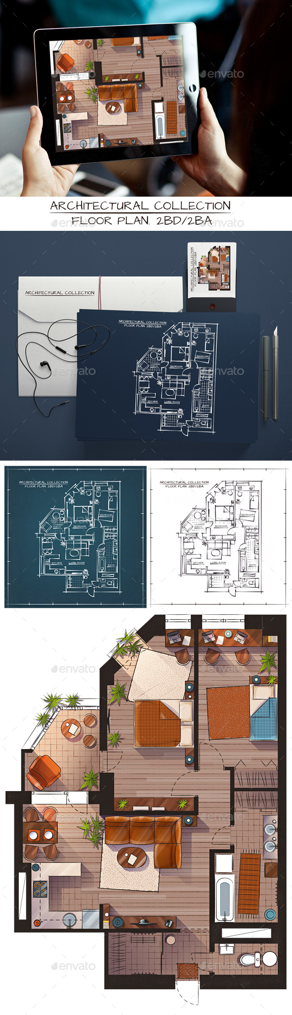 Architectural Sketch Color Floor Plan - Backgrounds Decorative