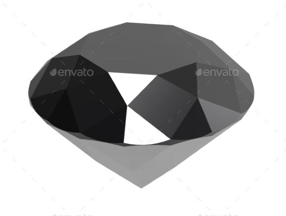 Gemstone Black Diamond 3d Render - Objects 3D Renders