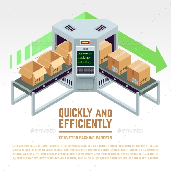 Conveyor Packing Parcels Isometric - Man-made Objects Objects