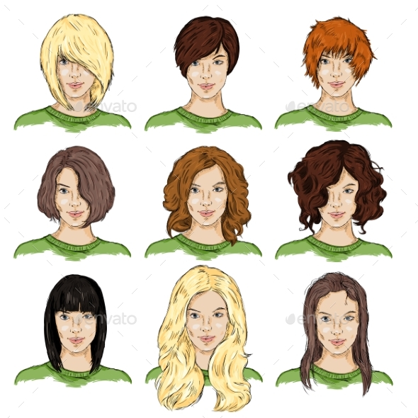 Set of Color Sketch Female Faces - Miscellaneous Vectors