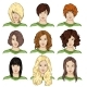 Set of Color Sketch Female Faces - GraphicRiver Item for Sale