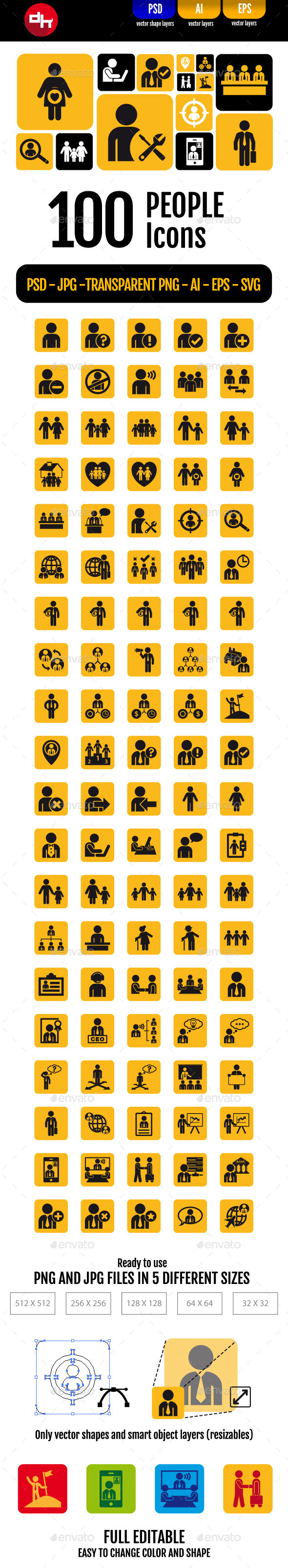 100 People Icons Pack - People Characters