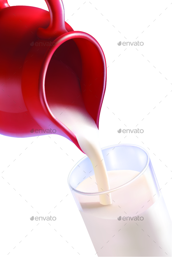 Milk Poured from a Jug - Food Objects