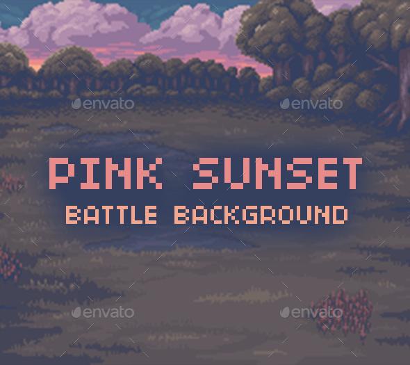 Pink Sunset Battle Background - Backgrounds Game Assets