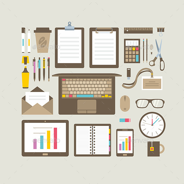 Business Items Flat Icons Set - Man-made Objects Objects