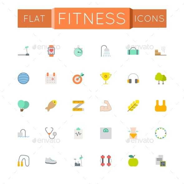 Vector Flat Fitness Icons - Miscellaneous Icons
