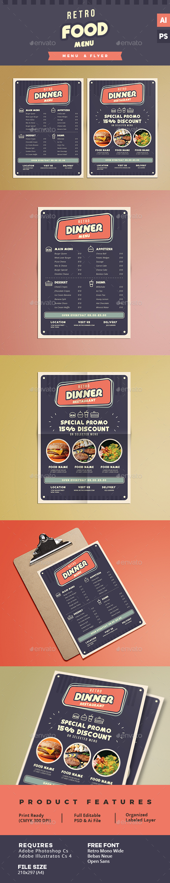 Retro Food  Menu & Flyer - Food Menus Print Templates