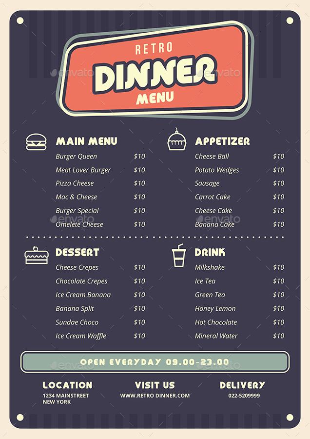 Retro Food  Menu & Flyer
