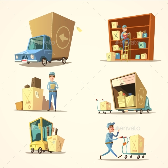 Warehouse Retro Cartoon Set - Concepts Business