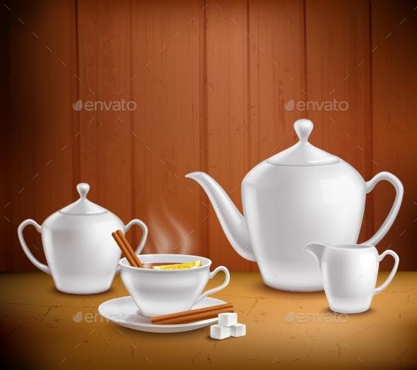 Tea Set Composition - Food Objects