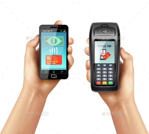 Hands with Smartphone and Payment Terminal  - Man-made Objects Objects