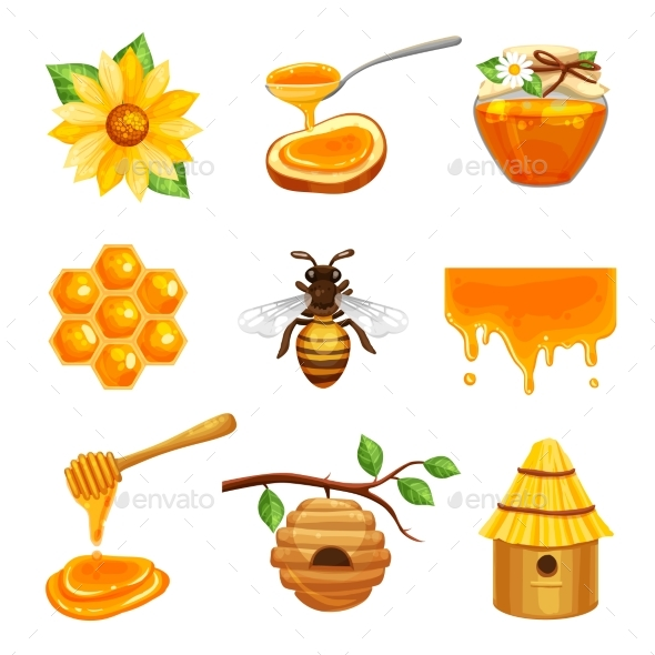 Honey Isolated Icon Set - Organic Objects Objects