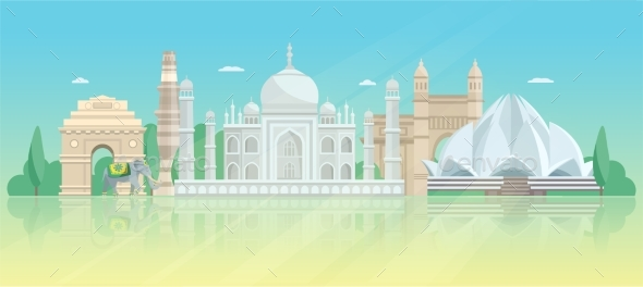 India Architectural Skyline Poster - Buildings Objects