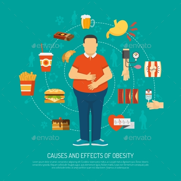 Obesity Concept Illustration - Health/Medicine Conceptual