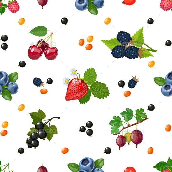Fresh Berries Seamless Colorful Pattern  - Patterns Decorative