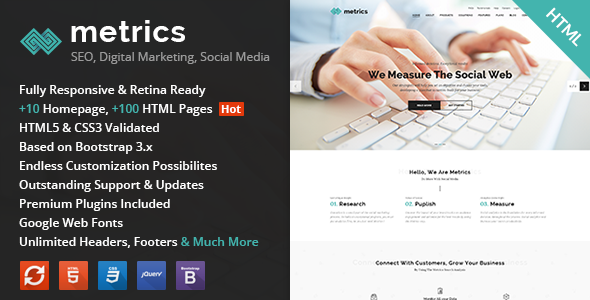 Metrics – SEO, Digital Marketing, Social Media HTML Template