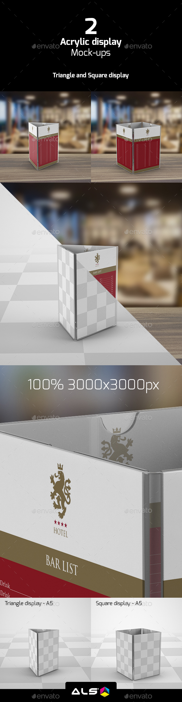 Triangle and Square Acrylic Display Mock-up - Miscellaneous Print