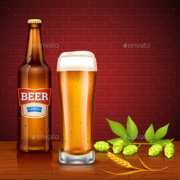 Beer Design Concept with Bottle and Glass - Backgrounds Decorative