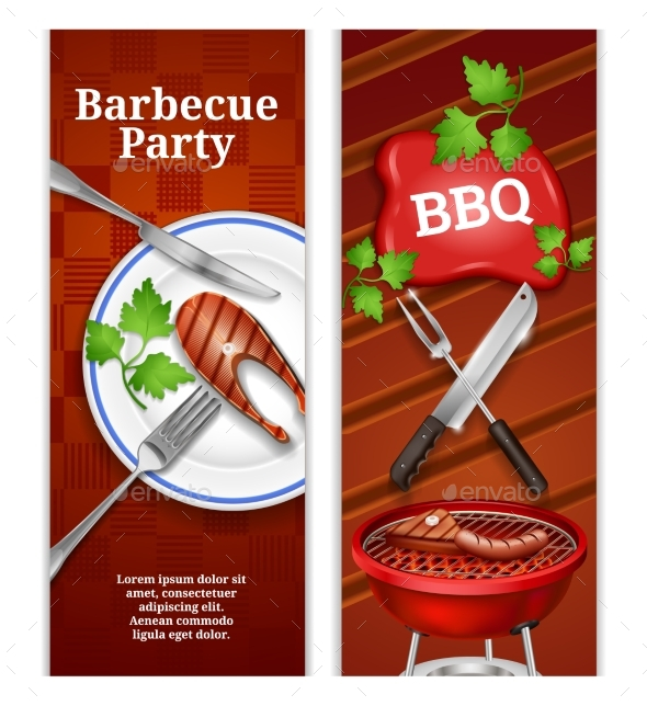 Barbecue Vertical Banners - Food Objects