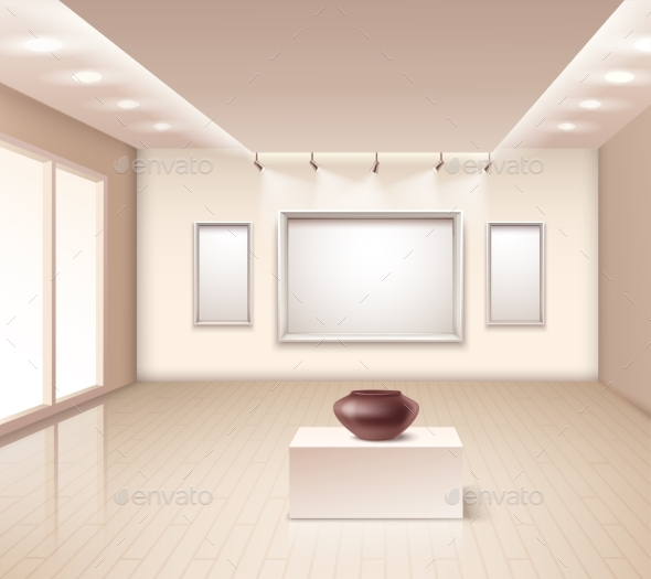 Exhibition Gallery Interior with Brown Vase - Buildings Objects
