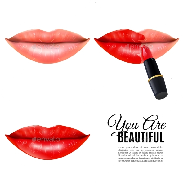 Make Up Beauty Lips Realistic Poster - Retail Commercial / Shopping