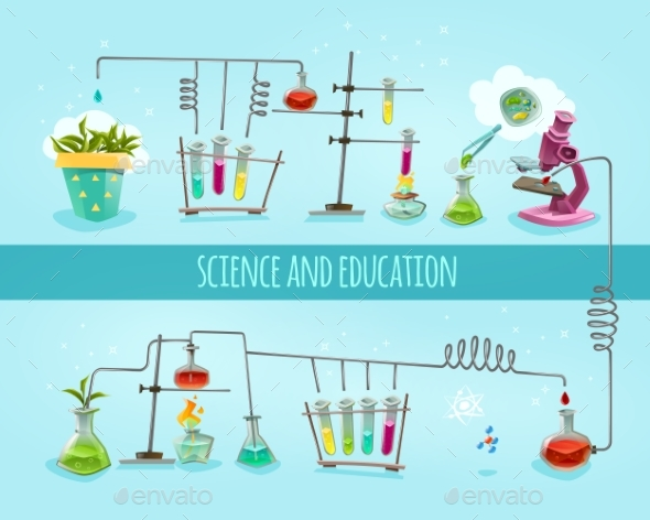 Science and Education Laboratory Flat Banner  - Miscellaneous Vectors