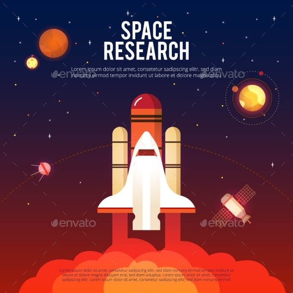 Space Research and Exploration Flat Banner  - Abstract Conceptual