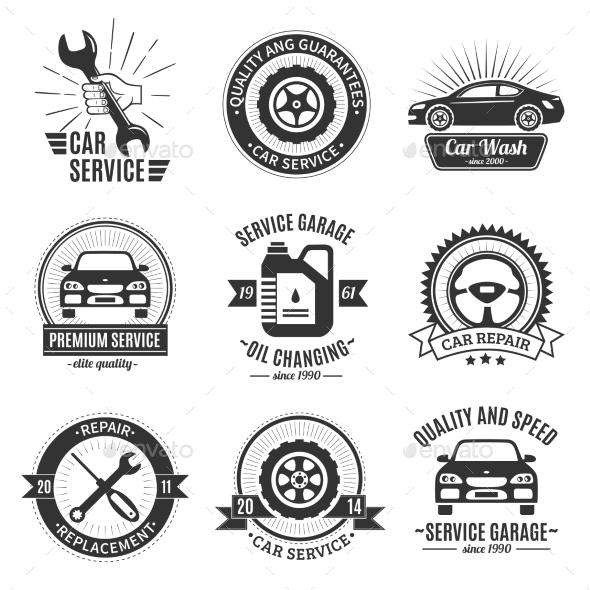 Auto Services Black White Emblems  - Decorative Symbols Decorative