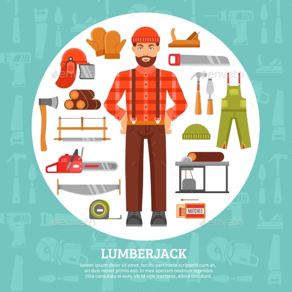 Lumberjack and Tools Icons Set  - Industries Business