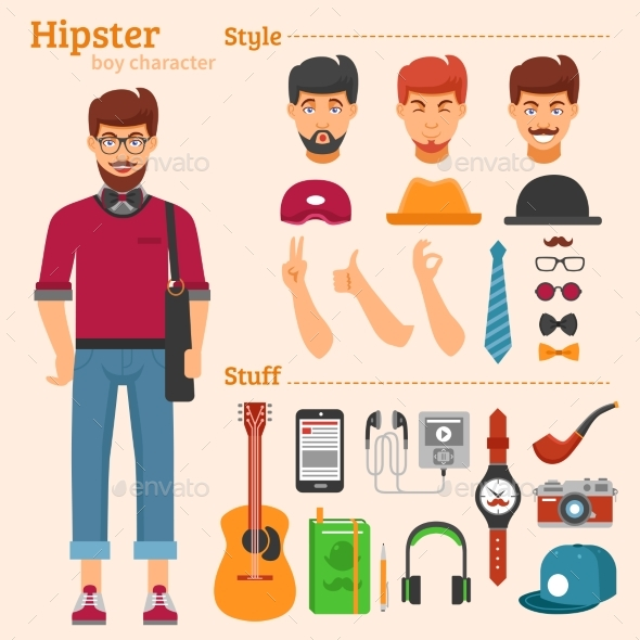 Hipster Boy Character Decorative Icons Set  - People Characters