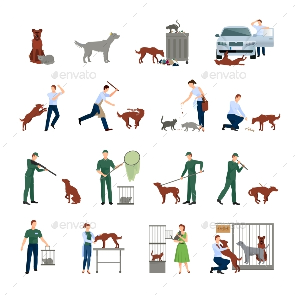 Stray Animals Icons Set - Animals Characters