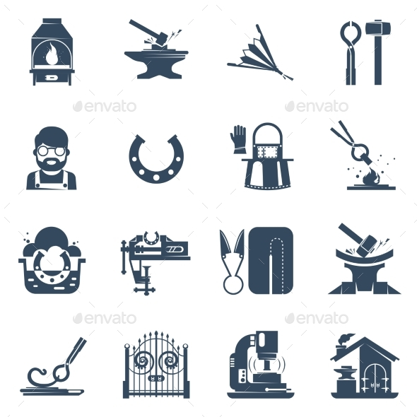Blacksmith Black Icons Set  - Man-made Objects Objects