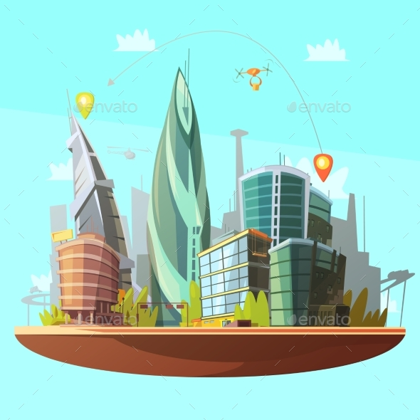 Modern City Downtown Concept Poster Print - Buildings Objects