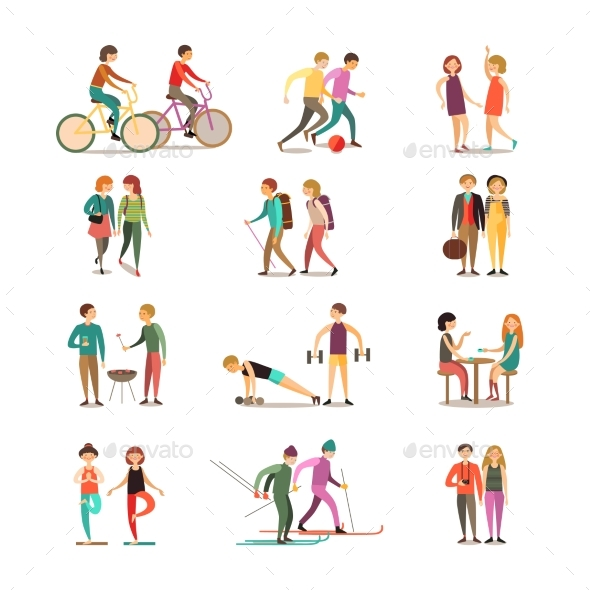 Friends and Hobbies Decorative Icons Set - People Characters