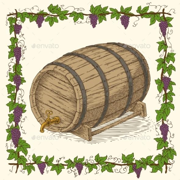 Wooden Oak Barrel with Iron Rims - Miscellaneous Vectors