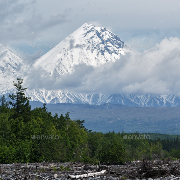 Beautiful View of Kamen Volcano. Russia, Kamchatka - Stock Photo - Images