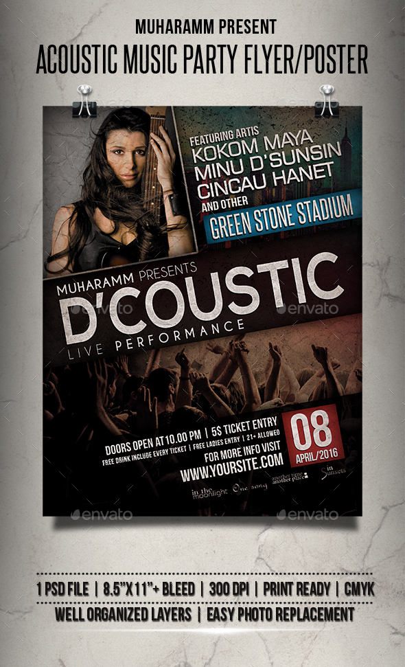 Acoustic Music Party Flyer / Poster - Events Flyers