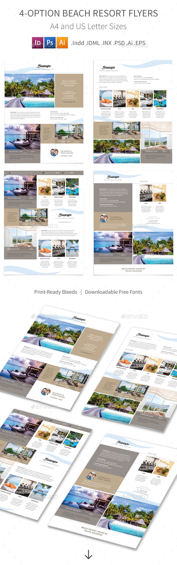 Beach Resort Flyers 2 – 4 Options - Corporate Flyers